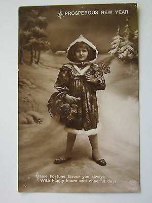 1912  New Year Postcard Imperfect Christmas Girl Real Photo Mono Schwerdtfeger