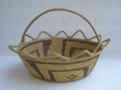 "LARGE ANTIQUE VINTAGE PAPAGO INDIAN BASKET - fancy ears"" design - OLD PATINA"