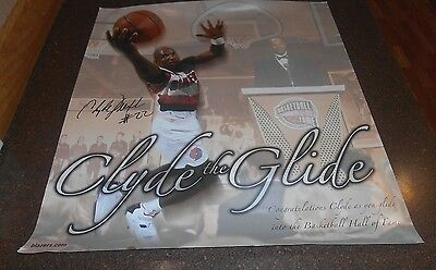 Autographed Clyde Drexler poster circa 2004.celebrating Clyde's HOF induction