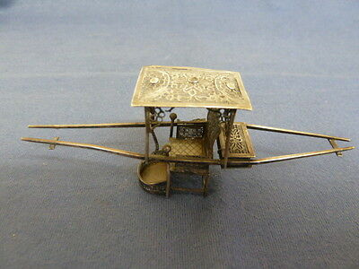 Antique Miniature Chinese Filigree Silver Sedan Chair Signed Wang Hing? AF