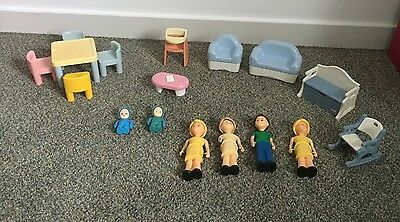vintage Little Tikes dollhouse dolls furniture accessories lot of 17 pieces