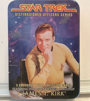 Star Trek 5 embossed metal collector cards in tin,  career of James T. Kirk