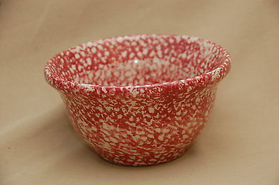 """Roseville Spongeware 8"""" Small Mixing Bowl Cranberry Red, Rose"""
