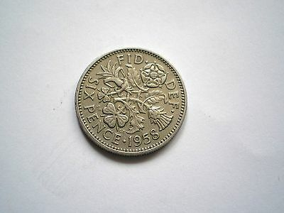 EARLY  ELIZABETH 11 PRE DECIMAL- 6 PENCE COIN FROM THE UK DATED-1958 nice