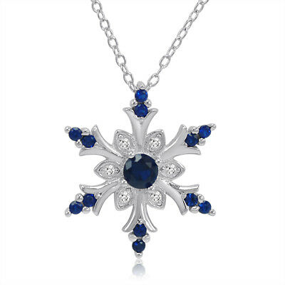 Simulated Blue and Created White Sapphire Snowflake Pendant in Sterling Silver