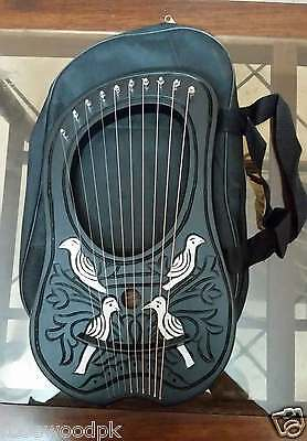New Rosewood Lyre Harp 10 Strings With Free Carry Bag - Key - Strings Set