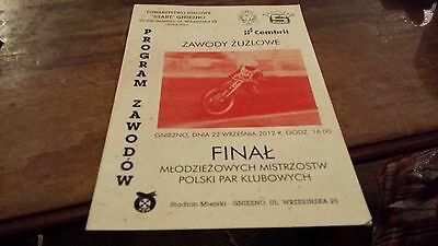 Polish Pairs Final 2012--Speedway Programme---Gniezno---22Nd September 2012