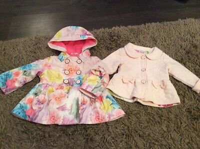 Baby Girls 2 X Ted Baker Coats Jackets Age 6/9 Months. Pink Bows  Floral Bows