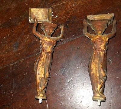 pair of french brass figures of a clock