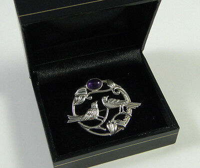 Sterling Silver BroochTREE OF LIFE Brooch with Birds & Amethyst cabochon detail