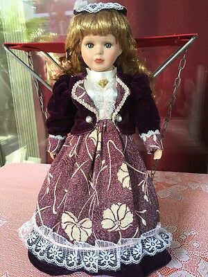 """Doll Emerald doll collection 15.5"""" Tall Lovely Purple Dress Lace -Hat Shoes"""