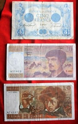 FRANCE - 3 x Used Banknotes
