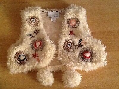 unusual short fluffy waistcoat by next age 6 7 embroidered detailing Xmas gift