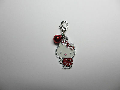 Clip on Hello Kitty with Red Bell Collar Charm for Pet Cat Kitten Dog Jewellery