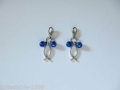 New Fish Silver Colour Charm & 2 Blue Jingle Bells for Pet Cat / Kitten Collar