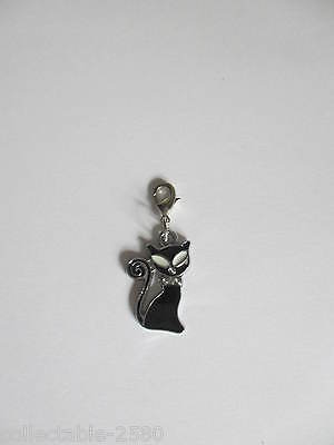 Lucky Black Cat Crystal Clip on Enamel Charm for Kitty / Kitten Collar or lead