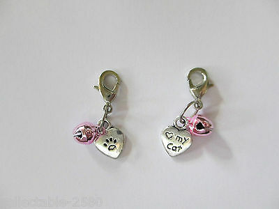 Cute Clip on Love My Cat / Heart Pink Bell Collar Charm for Pet Girl Female Cat