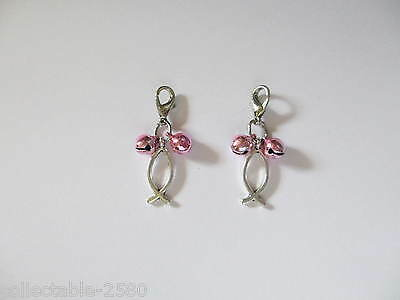 New Fish Silver Colour Charm & 2 Baby Pink Bells for Pet Cat / Kitten Collar