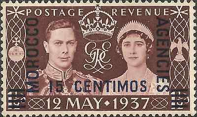 MH 1937 MOROCCO 15cts. on 1d OVERPRINT Stamp BROWN Coronation of King George VI