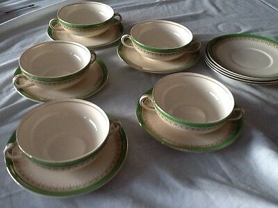 Vintage 5x Alfred Meakin Soup Bowls with 9 plates royal green and gold