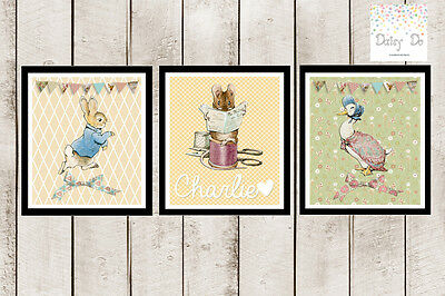 3 Peter Rabbit Print Picture Personalise Baby Nursery Christening Gift. NO frame