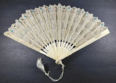 Antique Beaded Lace & Carved Folding Hand Fan
