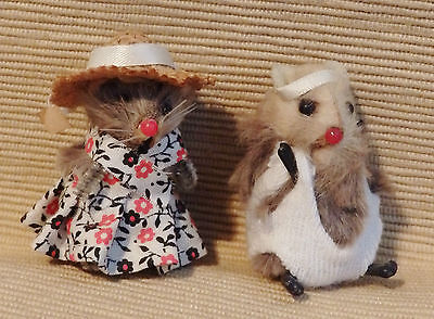 2 Character Mice Mouse Vintage Original Fur Animals, W. Germany labeled 2""