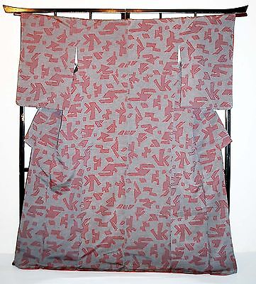 SALE! Japanese Kimono/Coat/Robe Grey/Beige 'Red Abstract Shapes' 10-14 Washable