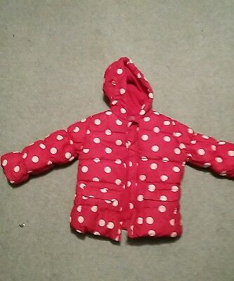 Girls warm winter new coat age 2-3 pink spotty