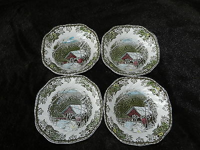 The Friendly Village COVERED BRIDGE 4 square cereal bowls Johnson Bros England
