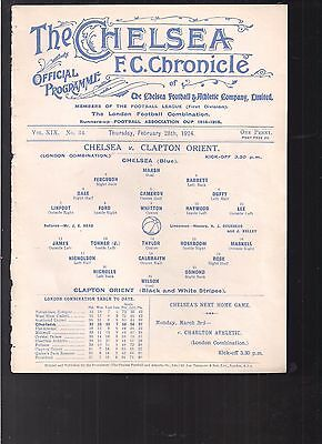 Chelsea V Clapton Orient 1923 London Combination  Programme