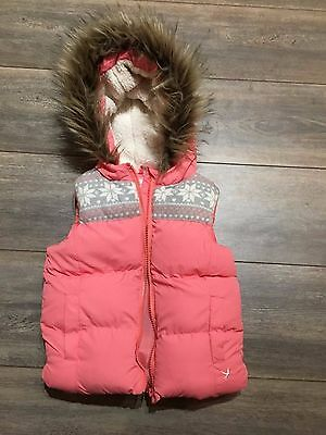 Girls Pinky/Peach Coloured Body Warmer with fur around hood- Size 3-4 Years