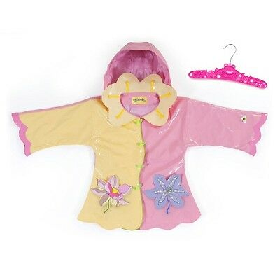 Girls Pink & Yellow Kidorable Lotus Flower PVC Hooded Raincoat. Size 92/98cm.