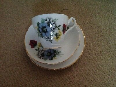 Vintage China Trio Tea Cup Saucer Plate Flowers, wedding shabby chic