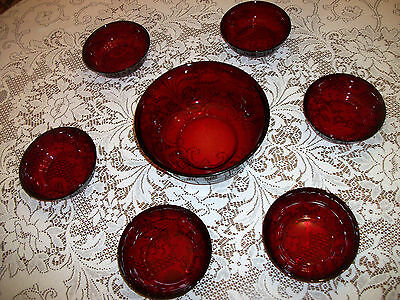 "Arcoroc Ruby Red Glass Bowls, (6)-5.75"" x 1.75"" & (1)-8.75""x3.75"" Made in France"