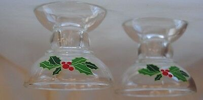 Holly Glass Candlestick Set Avon Holiday Hostess Taper Candle Holder Christmas
