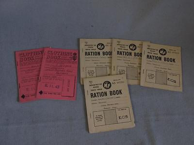 Vintage 1940s & 1950s Clothing and Ration Books - Partially Used.