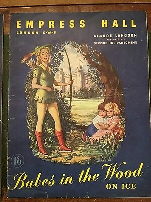 1950 Vintage theatre Programme, Babes In The Wood On Ice Empress Hall London SW6
