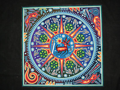 "Huichol Indian 24"" Yarn Painting Mexican Folk Art Elder Brother Spirit Guide"
