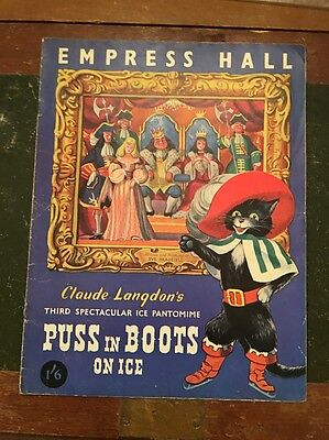 1951 Vintage theatre Programme, Puss In Boots On Ice Empress Hall London SW6
