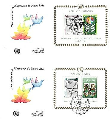 26/6/80 35'eme Anniversaire De L'organisationdes Nations Unies Ms Covers X 2