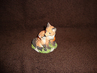 Mother Fox and Baby with Pumpkin Figurine