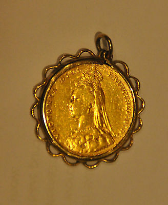 1887 Queen Victoria Sovereign With Pendant