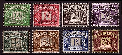 G.B. 1936  KEVI  Postage Dues  ½d to 2/6,  D19-26, Set of 8, Good to Fine Used