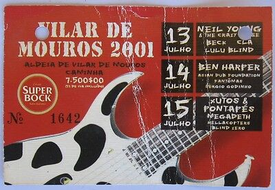 Neil Young,  Ben Harper Ticket Stub Festival Headliners In Portugal 2001
