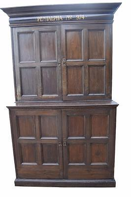Masonic Inscribed Victorian Library Bookcase Cupboard
