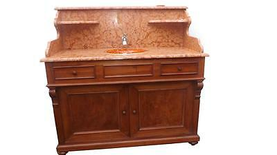 French Walnut Marble Wash Stand Pivot  Porcelain  Sink