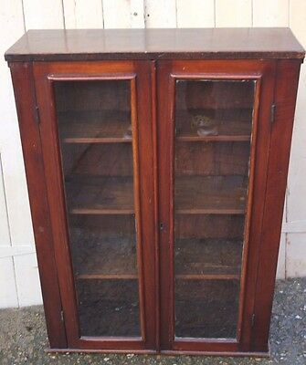 Glazed wall cabinet - possibly Victorian - mahogany  a lovely rich colour