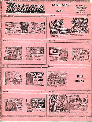 1959 Normana & Floyd's Movie Theatre Upcoming Preview Chart El Campo Texas