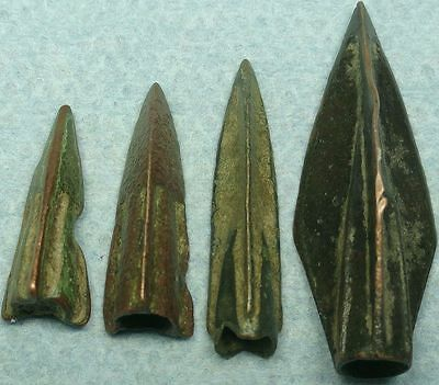 Lot Of 4 Ancient Bronze Arrowheads